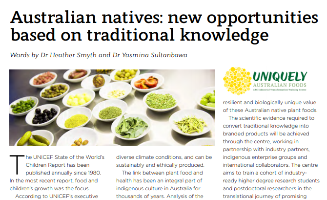 Australian natives: new opportunities based on traditional knowledge